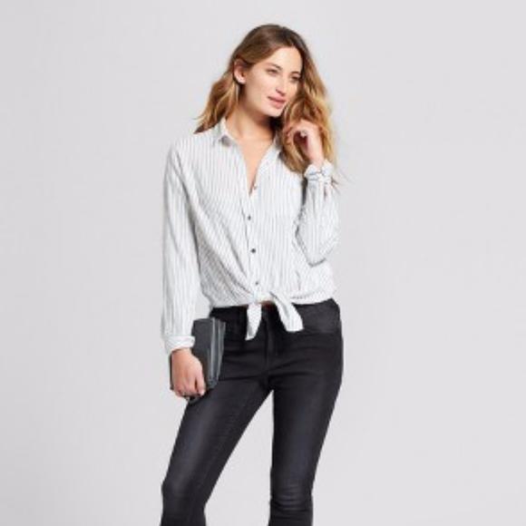 0020e248 Universal Thread Tops | Target White Blue Stripe Button Down Shirt ...